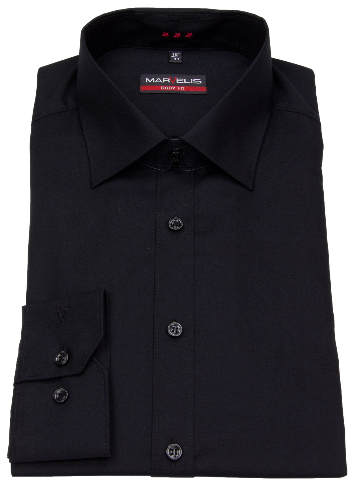 OLYMP Level Five body fit Hemd UNI POPELINE rot mit New York Kent Kragen in schmaler Schnittform