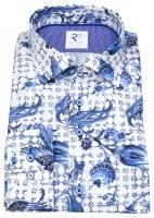 Hemd - Modern Fit - Haifischkragen - Print - blau / weiß