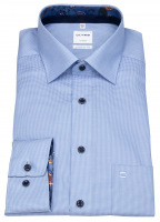 Hemd - Comfort Fit - Kontrastknöpfe - hellblau / weiß
