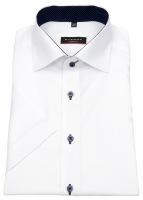 Kurzarmhemd - Modern Fit - Oxford - Kontrastknöpfe - weiß