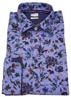 Hemd - Slim Fit - Print - Blüten - blau