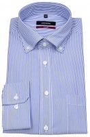 Hemd - Modern Fit - Button-Down Kragen - blaue Streifen