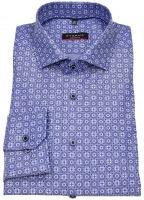 Hemd - Modern Fit - Haikragen - Print - blau / weiß