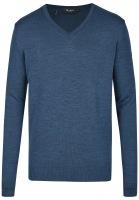 Pullover - Comfort Fit - V-Ausschnitt - Merinowolle - blau