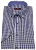 Kurzarmhemd - Modern Fit - Button Down - dunkelblau / weiß