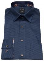 Hemd - Modern Fit - Under Button Down - Struktur - dunkelblau