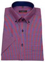 Kurzarmhemd - Modern Fit - Button Down - dunkelblau / rot