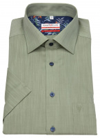 Kurzarmhemd - Modern Fit - Kontrastknöpfe - dunkelgrün