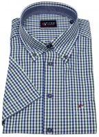 Kurzarmhemd - Regular Fit - Button Down - kariert - grün