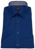 Kurzarmhemd - Luxor Modern Fit - Print - dunkelblau / weiß