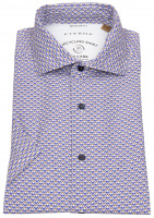 Kurzarmhemd - Regular Fit - Button Down - We Care - blau / beige
