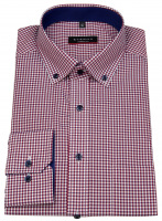 Hemd - Modern Fit - Button Down - Kontrastknöpfe - rot / weiß