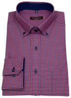 Hemd - Modern Fit - Button Down - rot / dunkelblau