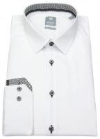 Hemd - Extra Slim - Patch - Kontrastknöpfe - weiß