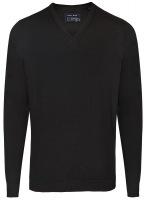 Pullover - Merinowolle - V-Ausschnitt - schwarz