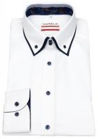 Hemd - Modern Fit - unterlegter Button Down Kragen - weiß