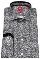 Hemd - Slim Fit - Print - Stretch - schwarz / weiß