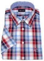 Kurzarmhemd - Regular Fit - kariert - rot / blau / weiß
