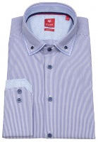 Hemd - Slim Fit - unterlegter Button Down - blau / weiß