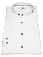 Trachtenhemd - Slim Fit - Stehkragen - weiß
