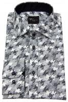 Hemd - Slim Fit - Print - schwarz / weiß