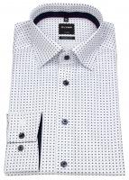 Hemd - Luxor Modern Fit - Under Button Down - Print - weiß