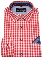 Trachtenhemd - rot / weiß kariert