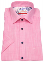 Kurzarmhemd - Modern Fit - Kontrastknöpfe - rosé