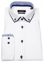 Hemd - Regular Fit - Patch - Button Down - weiß