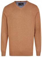 Pullover - V-Ausschnitt - rotbeige