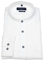 Leinenhemd - Casual Fit - Stehkragen - Kontrastknöpfe - weiß