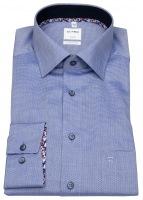 Hemd - Comfort Fit - Struktur - Kontrastknöpfe - blau