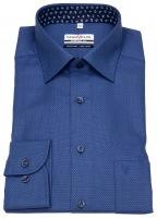 Hemd - Comfort Fit - Struktur - Patch - dunkelblau / blau