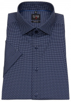 Kurzarmhemd - Level 5 Body Fit - Print - dunkelblau / weiß