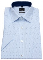 Kurzarmhemd - Modern Fit - Patch - Print - hellblau / weiß