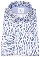 Hemd - Modern Fit - Haifischkragen - Print - Hochhäuser - blau