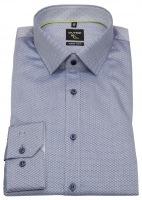 Hemd - No. Six Super Slim Fit - Print - blau / grau