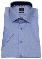 Kurzarmhemd - Modern Fit - Struktur - Kontrastknöpfe - blau