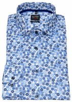 Hemd - Level Five Body Fit - Print - dunkelblau / hellblau