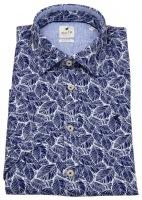 Kurzarmhemd - Slim Fit - Print - blau / weiß
