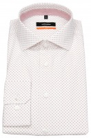Hemd - Slim Fit - Haifischkragen - Print - rot / weiß