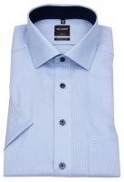 Kurzarmhemd - Modern Fit - Faux Uni - hellblau / weiß