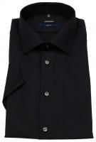 Kurzarmhemd - Tailored Fit - Kentkragen - schwarz