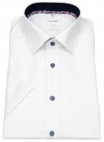 Kurzarmhemd - Comfort Fit - Struktur - Kontrastknöpfe - weiß