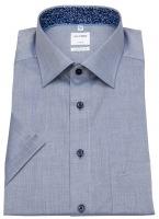 Kurzarmhemd - Comfort Fit - Patch - Kontrastknöpfe - blau