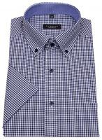Kurzarmhemd - Comfort Fit - Button Down - kariert - dunkelblau