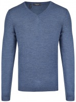 Pullover - Modern Fit - V-Ausschnitt - Nimes Blue