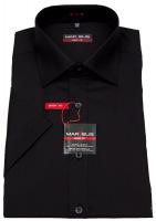 Kurzarmhemd - Body Fit - Kent Kragen - schwarz