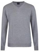 Pullover - Merinowolle - V-Ausschnitt - grau