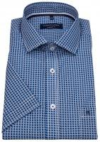 Kurzarmhemd - Comfort Fit - Print - blau / weiß